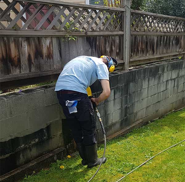 Pressure Washing retaining wall