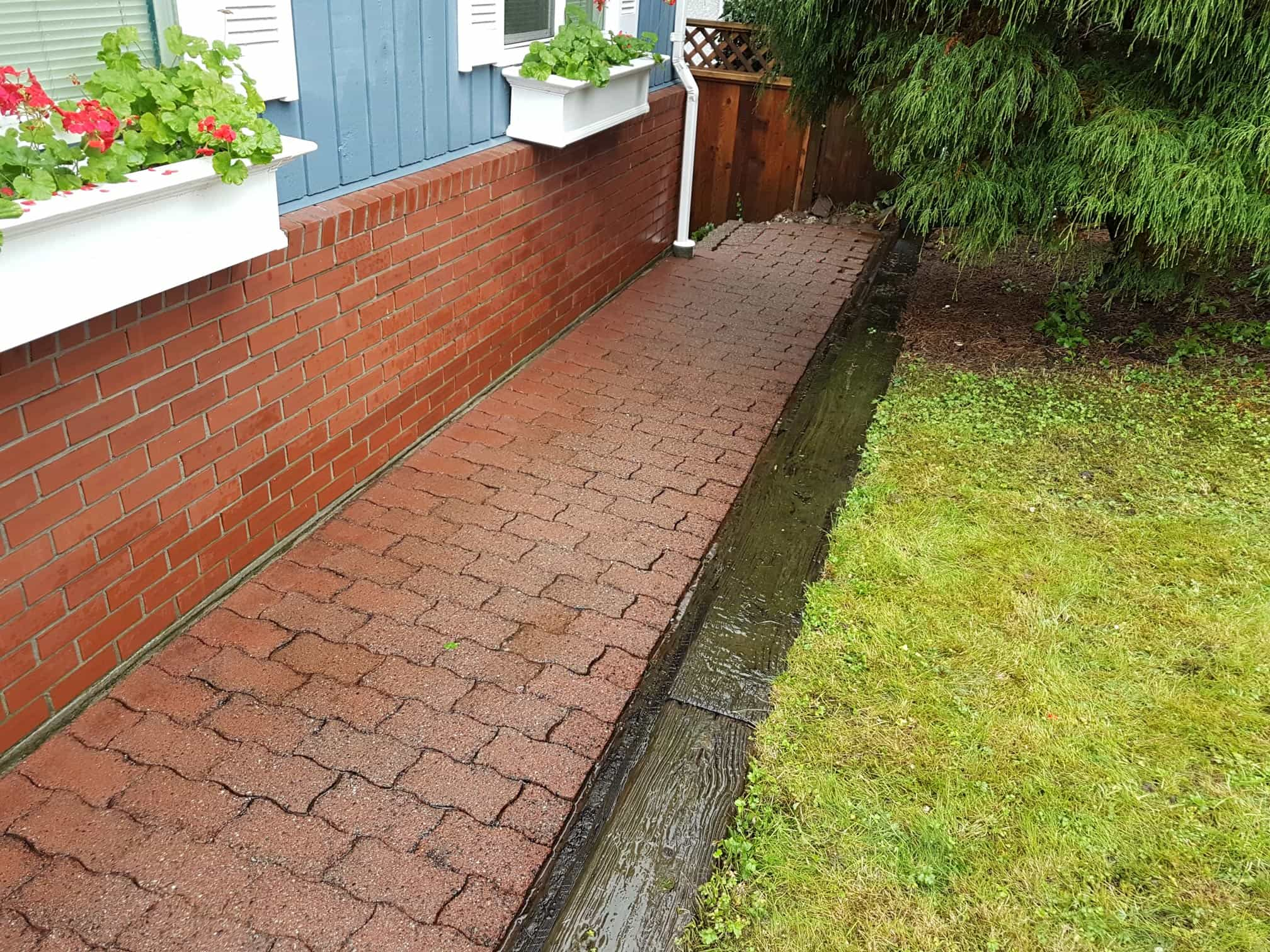 after pressure washing red brick pavers