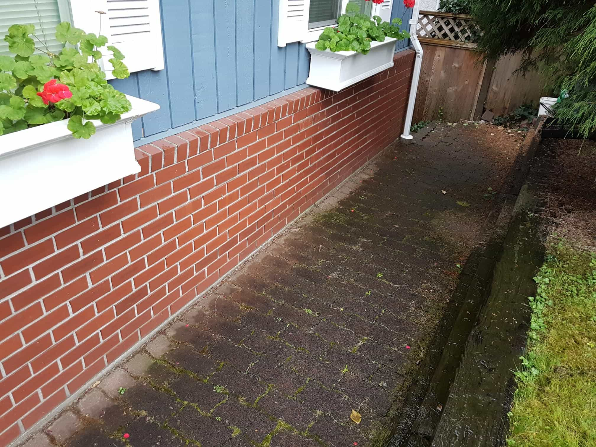 before pressure washing red brick pavers